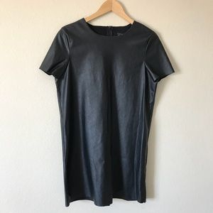 Topshop Faux Leather Dress Short Sleeves